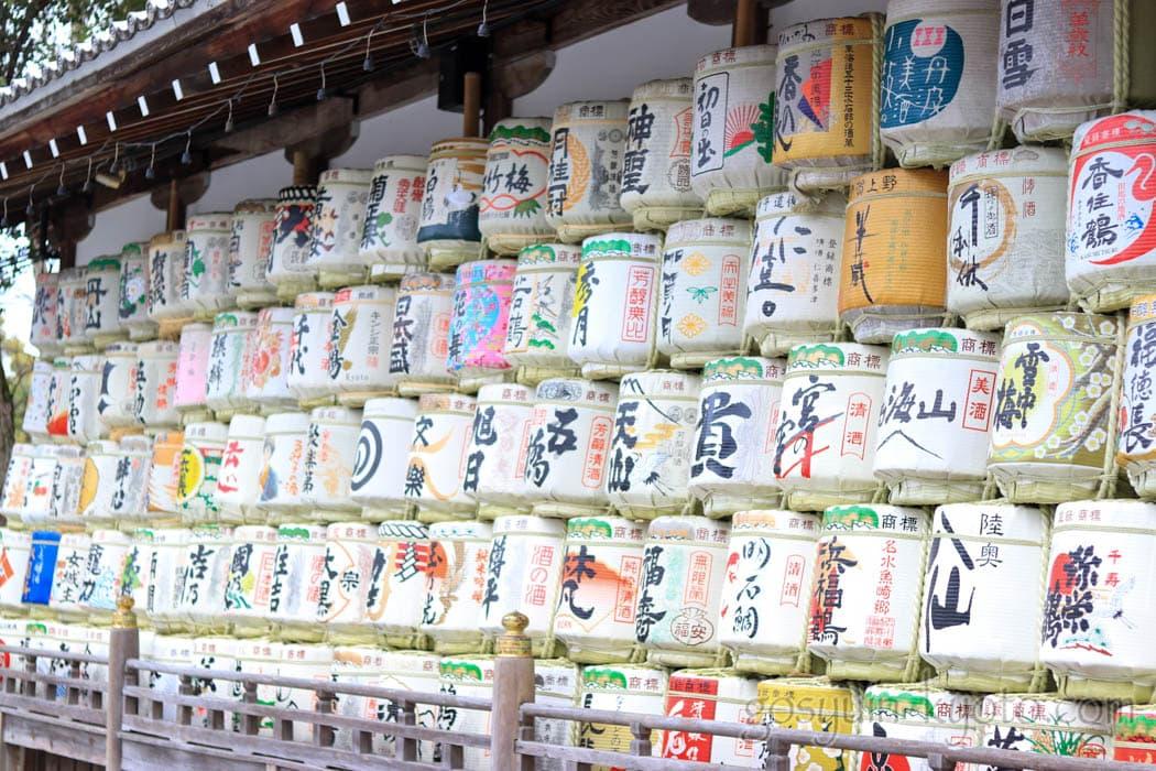 京都市西京区の松尾大社の酒樽