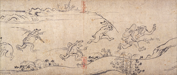 京都市右京区の高山寺の鳥獣戯画